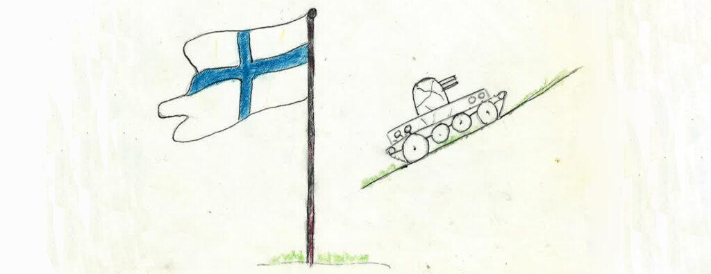 Finnische Fahne mit Panzer