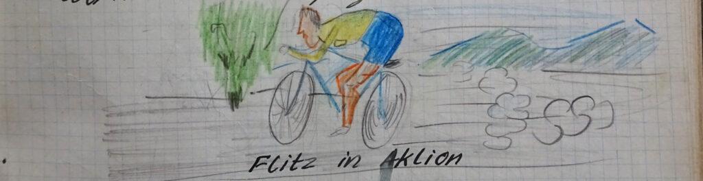 Velofahrer Flitz in Aktion